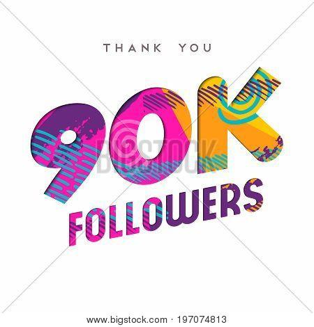 90K Internet Follower Number Thank You Template