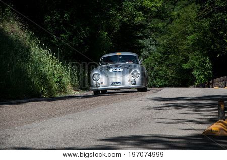 GOLA DEL FURLO, ITALY - MAY 19: PORSCHE 356 1500 SUPER 1952 on an old racing car in rally Mille Miglia 2017 the famous italian historical race (1927-1957) on May 19 2017