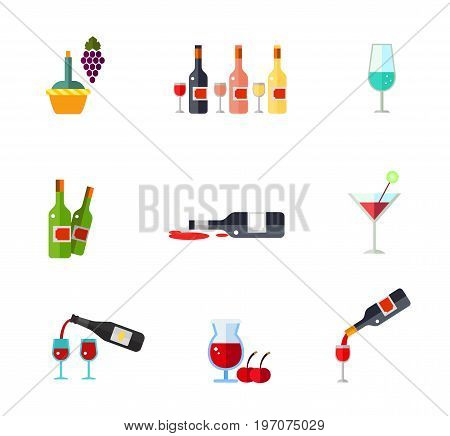 Bar icon set. Bottle in basket Bottles of rose, white and red wine Wineglass Spilt red wine Cocktail Bottle and glasses Cherry beer Wine pouring from bottle in wineglass