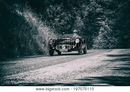 GOLA DEL FURLO, ITALY - MAY 19: STANGUELLINI 750 S 1952 on an old racing car in rally Mille Miglia 2017 the famous italian historical race (1927-1957) on May 19 2017