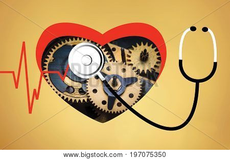 The heartbeat line and phonendoscope. The heart and cardio concept and phonendoscope