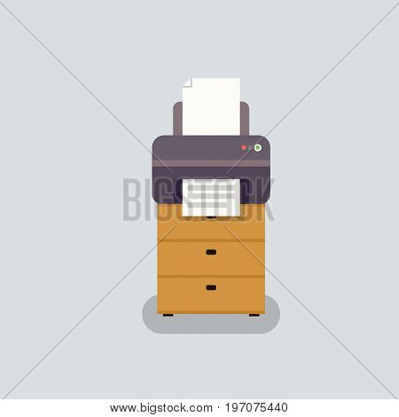 office printer vector in flat stile. Office equipment on curbstone. Printer for printing documents.