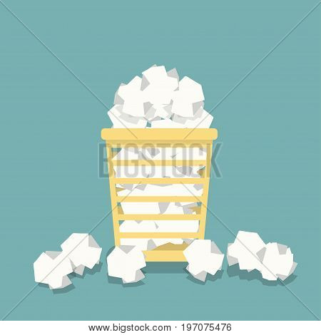 Flat basket for papers in vector. Full office urn. Crumpled documents papers.