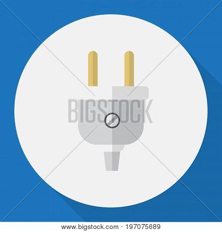 Vector Illustration Of Electric Symbol On Plug Flat Icon