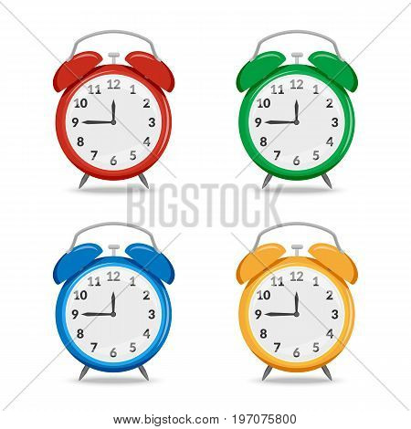 Vector illustration. Set of colorful mechanical classic retro alarm clocks icons. Red, green, blue, yellow