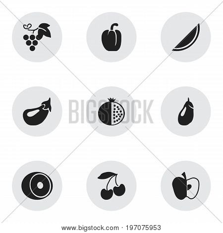 Set Of 9 Editable Fruits Icons. Includes Symbols Such As Apple, Melon, Eggplant And More