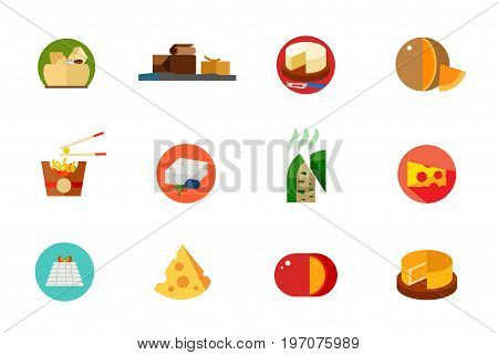 Cheese food icon set. Parmesan Brunost Camembert Mimolette Chinese balls Feta Roquefort Cheese piece Ricotta cottage Piece Gouda Round cheese