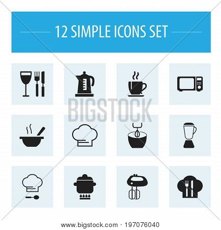 Set Of 12 Editable Cooking Icons. Includes Symbols Such As Squeezer, Kettle, Prepare Meal And More