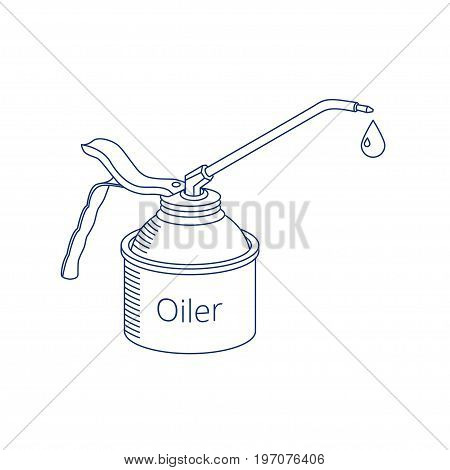 Vector oiler icon. Linear logotype of oil can with drop of oil