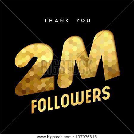 2 Million Internet Follower Gold Thank You Card