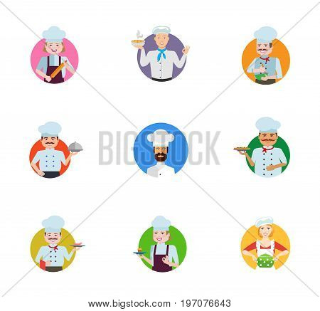 Chef icon set. Female chef with rolling pin Man with soup bowl Cooking male chef Cook with closed cloche Man in cook cap Holding pizza Holding fruit Confectioner Housewife