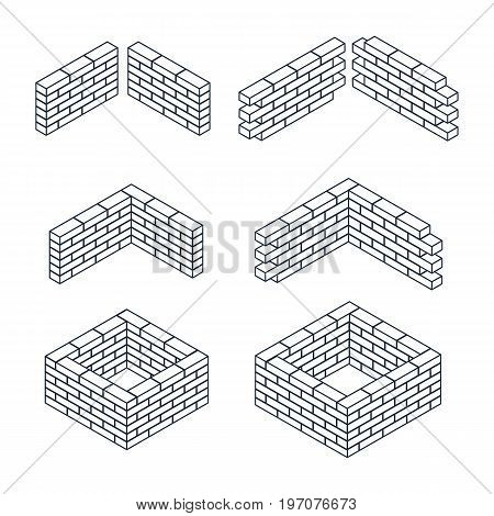 Outline brick walls of the house, with cement mortar. Angular laying. Set of isometric contour icons. 3D. Vector illustration.