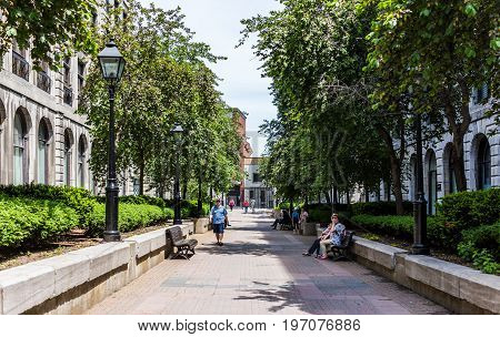 Montreal, Canada - May 28, 2017: Old Town Area With Park On Rue Le Royer During Summer Day With Peop
