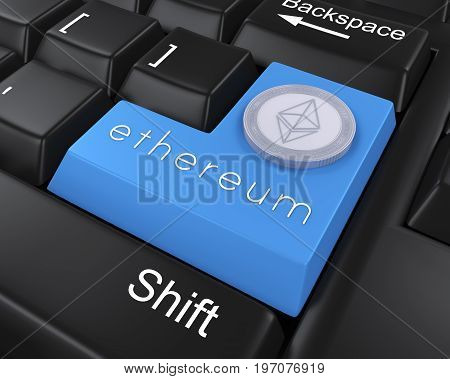 Ethereum Enter Button Illustration . 3D render