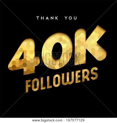 40K Gold Internet Follower Number Thank You Card