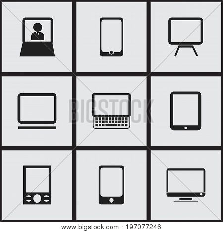 Set Of 9 Editable Instrument Icons. Includes Symbols Such As Touchscreen, Laptop, Monitor And More