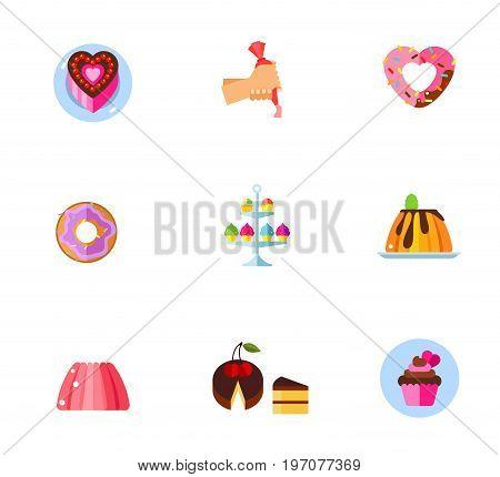 Confectionery icon set. Heart-shaped cake Cake decoration Heart-shaped donut Doughnut Sweet stand Creamy caramel flat dessert Jelly Cake piece Cupcake