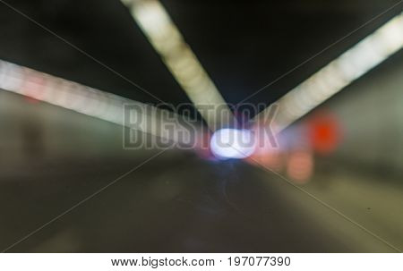 Bokeh of tunnel on Autoroute 720 expressway Ville Marie in Montreal Quebec region city