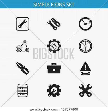 Set Of 12 Editable Toolkit Icons. Includes Symbols Such As Spanner, Tyre, Arithmetic And More