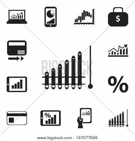 Set Of 12 Editable Statistic Icons. Includes Symbols Such As Monitoring, Percent, Phone Statistics And More