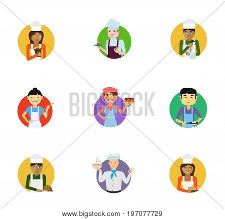 Cook icon set. Female chef portrait Confectioner Cook with ladle Asian woman with chopsticks Confectioner holding cake Asian man with frying pan Cutting bread Hot soup Pastry chef