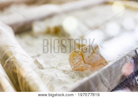 Macro Closeup Of Tray Of Turkish Delight, Lokum Or Rahat Lokum Candies On Display In Shop