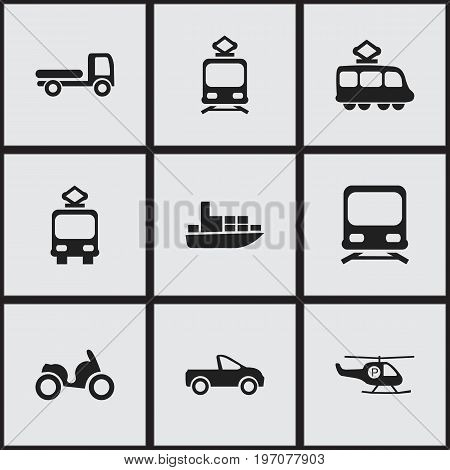 Set Of 9 Editable Transport Icons. Includes Symbols Such As Haulage, Tramcar, Streetcar And More