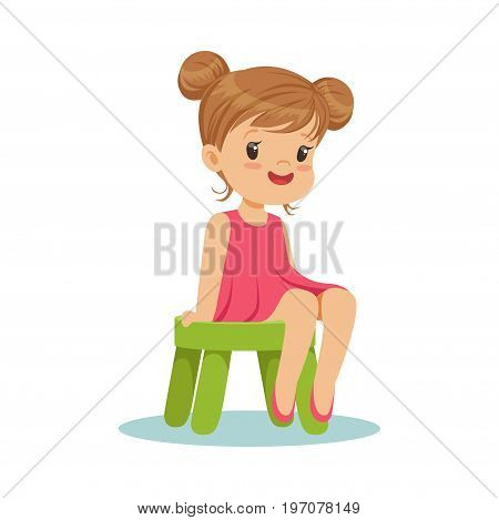Beautiful little girl sitting on a small green stool, colorful character vector Illustration