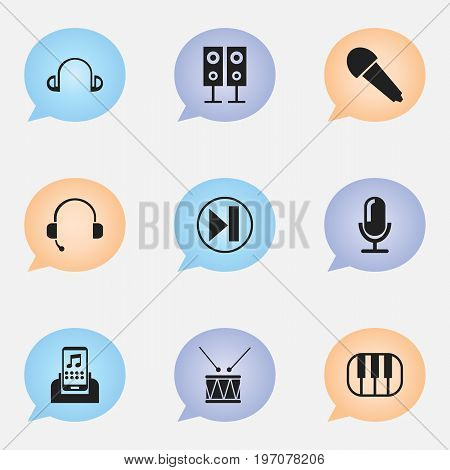 Set Of 9 Editable Multimedia Icons. Includes Symbols Such As Studio Mic, Music Speaker, Synthesizer And More
