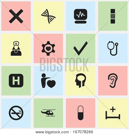 Set Of 16 Editable Care Icons. Includes Symbols Such As Doctor Tool, Genome, Hospital Assistant And More