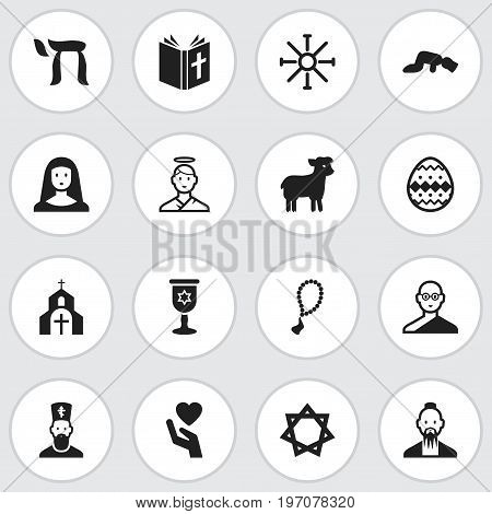 Set Of 16 Editable Dyne Icons. Includes Symbols Such As Jewish, Om Aum, Holy Sister And More