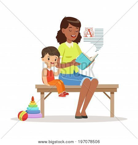 Teacher reading a book to little boy while sitting on a bench, kids education and upbringing in preschool or kindergarten, colorful characters vector Illustration