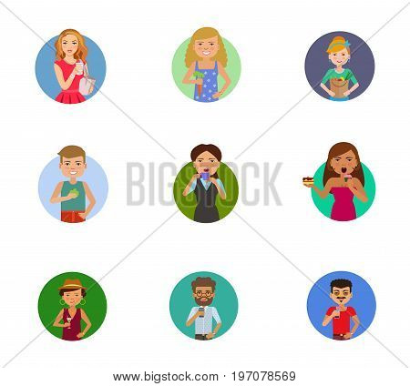 Eating and drinking icon set. Woman holding cup Holding carrot Paper bag with vegetables Man with apple Woman drinking coffee Woman eating cupcake Cocktail Man with coffee cup Man drinking juice