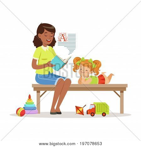 Teacher reading a book to little girl while sitting on a bench, girl enjoy listening, kids education and upbringing in preschool or kindergarten, colorful characters vector Illustration