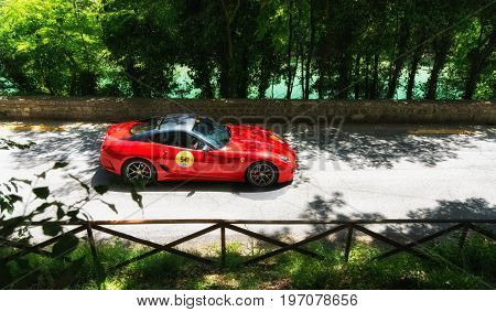 GOLA DEL FURLO, ITALY - MAY 19: FERRARI 599 GTO on an old racing car in rally Mille Miglia 2017 the famous italian historical race (1927-1957) on May 19 2017