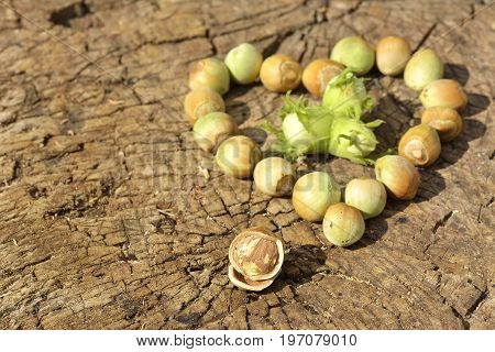 Heart Made Of Hazelnuts On Wooden Background, Space For Text.