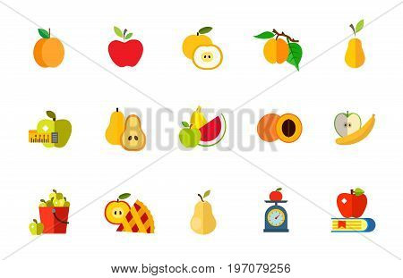 Fruit diet icon set. Apricot Apple Cut apple Apricot on branch Pear Measuring tape Cut pear Fresh fruit Cut apricot Healthy eating Bucket Apple pie slice Yellow pear Fruit on scales Knowledge concept