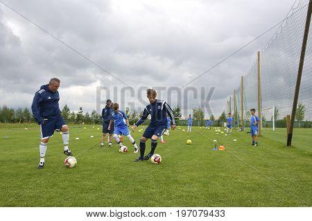 Ghimbav, Brasov, Romania - Agust 3: Soccer Football Training Camp For Kids, Children At Forex Ghimba