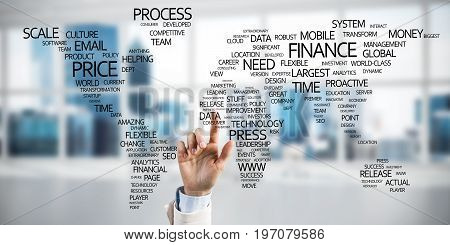 Close of businesswoman hand touching global business concept on screen