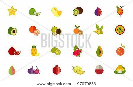 Fruit variety icon set. Carambola Pomelo Lemon Kiwi Fig Camu camu Avocado Orange Macadamia Tangerine Lucuma Passion fruit Pomegranate Pineapple Lime Guarana Papaya Guava Melon Lychee Thai dessert