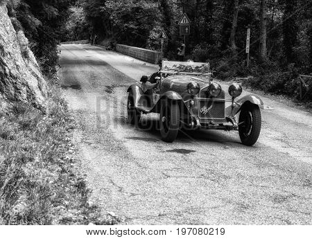 GOLA DEL FURLO, ITALY - MAY 19: ALFA ROMEO 6C 1750 GRAN SPORT 1930 on an old racing car in rally Mille Miglia 2017 the famous italian historical race (1927-1957) on May 19 2017