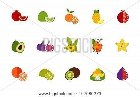 Fruits icon set. Pomegranate Pomelo Tangerine Pineapple Pomegranate Avocado Fig Lucuma Camu camu Carambola Orange Lime Kiwi Thai dessert Cut fig