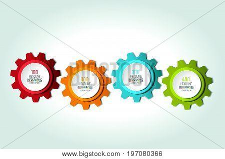 Four elements chart scheme diagram. 4 Infographic template.