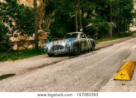 PESARO, ITALY - MAY 15: MERCEDES-BENZ 300 SL W 194 PROTOTYPE 1952` old racing car in rally Mille Miglia 2015 the famous italian historical race 1927-1957 on May 15 2015