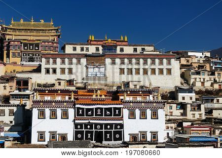 China Shangri-La - Gandan Sumtseling Gompa (Songzanlin Monastery) a 300 year old Tibetan monastery complex. Yunnan province