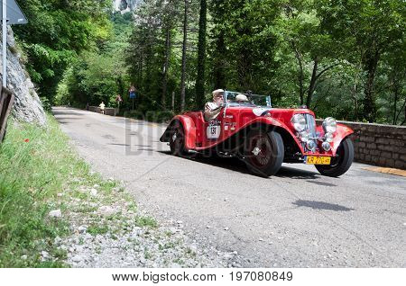 Gola Del Furlo, Italy - May 19: Aston Martin 15/98 Short Chassis 1937 On An Old Racing Car In The Ra