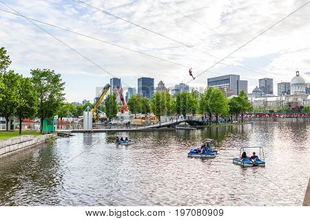 Montreal, Canada - May 27, 2017: Old Port Bonsecours Market Basin Area With Boats In City In Quebec