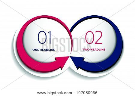 Two business elements banner. 2 steps design chart infographic step by step number option layout. 3D cyrcle style.