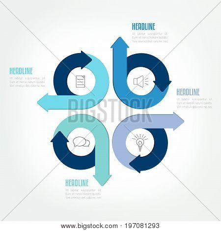 Four steps circle arrow infographic scheme template chart diagram module.