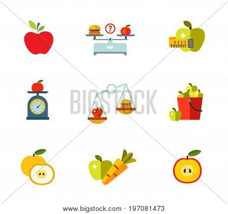 Healthy eating icon set. Apple Hamburger and apple on scales Measuring tape Fruit on scales Nutrition concept Apple bucket Cut fruit Healthy eating Half fruit